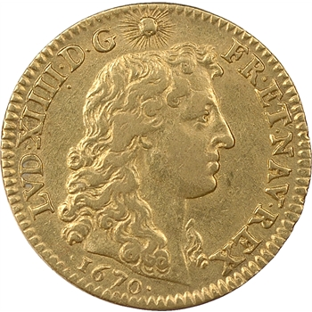 Louis XIV, louis d'or à la tête nue, 1670, Paris
