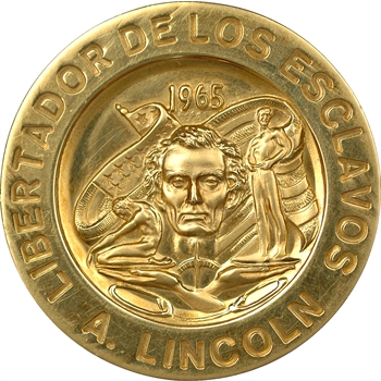 Médaille en or 900 millièmes représentant Lincoln et John Fitzgerald Kennedy, 1965