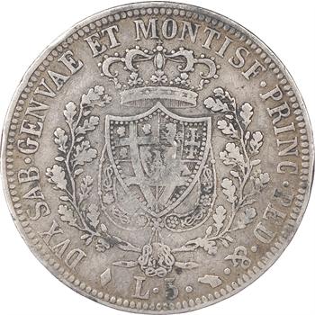 Italie, Sardaigne, Charles Félix, 5 lire, 1826, Turin