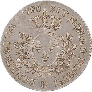 Louis XVI, 1/5 ème d'écu aux branches d'olivier, 1788, La Rochelle (H)