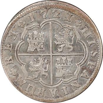 Espagne, Philippe V, 2 reales, 1721, Madrid