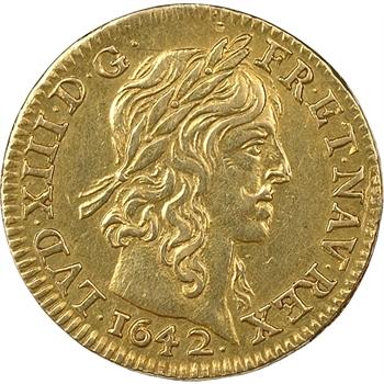 Louis XIII, demi-louis d'or à la mèche longue, 1642, Paris