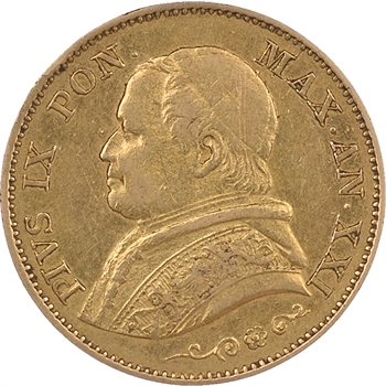 Etats papaux, 20 lire, 1866 Anno XXI, Rome