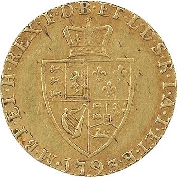 Grande-Bretagne, Georges III (1760-1820), 1/2 guinée, 1793