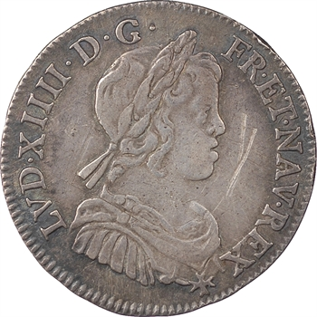 Louis XIV, 1/4 écu à la mèche courte, 1645, Lyon